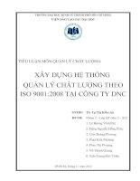 XÂY DỰNG HỆ THỐNG  QUẢN LÝ CHẤT LƯỢNG THEO ISO 9001:2008 TẠI CÔNG TY DNC