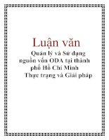 Luận văn: Quản lý và Sử dụng nguồn vốn ODA tại thành phố Hồ Chí Minh Thực trạng và Giải pháp pdf