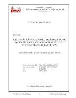 LUẬN VĂN:GIẢI PHÁP NÂNG CAO HIỆU QUẢ HOẠT ĐỘNG QUẢN TRỊ BÁN HÀNG CHO CÔNG TY TNHH THƯƠNG MẠI M.K TẠI TP.HCM ppt