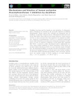 Báo cáo khoa học: Mechanisms and kinetics of human arylamine N-acetyltransferase 1 inhibition by disulfiram potx