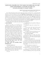 BƯỚC ĐẦU NGHIÊN CỨU TÁC DỤNG CỦA NẤM LINH CHI VIỆT NAM (GANODERMA LUCIDUM) QUA MỘT SỐ CHỈ SỐ LIPID MÁU Ở CHUỘT CỐNG pptx