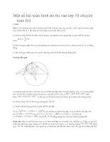 Một số bài toán hình ôn thi vào lớp 10 chuyên toán tt pot