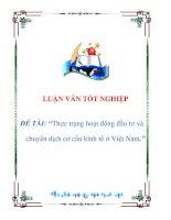 luận văn: Thực trạng hoạt động đầu tư và chuyển dịch cơ cấu kinh tế ở Việt Nam pot