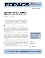INTERNAL AUDIT'S ROLE IN CONTINUOUS MONITORING doc