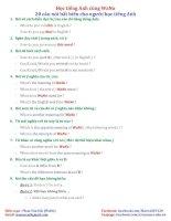 20 câu nói CHO NGƯỜ MỚI HỌC TIẾNG ANH