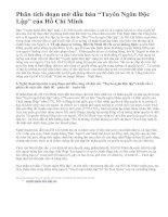 """Phân tích đoạn mở đầu bản """"Tuyên Ngôn Độc Lập"""" của Hồ Chí Minh"""