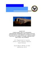 AUDIT OF COMPLIANCE WITH STANDARDS GOVERNING COMBINED DNA INDEX SYSTEM ACTIVITIES AT THE COUNTY OF SANTA CLARA DISTRICT ATTORNEY'S CRIME LABORATORY SAN JOSE, CALIFORNIA potx