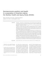 Socioeconomic position and health in a population of Brazilian elderly: the Bambuí Health and Aging Study (BHAS) pdf