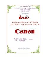 BÁO CÁO THỰC TẬP TỐT NGHIỆP NHẬN XÉT CỦA CÔNG TY TNHH Cannon VIỆT NAM pdf