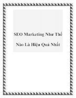 SEO Marketing Như Thế Nào Là Hiệu Quả Nhất pptx