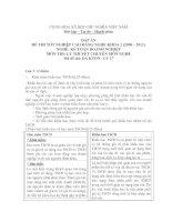 đáp án đề thi lí thuyết tốt nghiệp khóa 2 - kế toán doanh nghiệp - mã đề thi  da ktdn - lt (27)