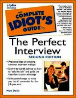 The complete idiot s guide to the perfect interview (2000)