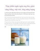 Thực phẩm ngăn ngừa ung thư, giảm căng thẳng, mệt mỏi, tăng năng lượng pdf