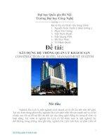 XÂY DỰNG hệ THỐNG QUẢN lý KHÁCH sạn