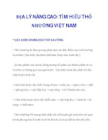 ĐỊA LÝ NÂNG CAO: TÌM HIỂU THỔ NHƯỠNG VIỆT NAM doc