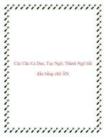 Các Câu Ca Dao, Tục Ngữ, Thành Ngữ bắt đầu bằng chữ ĂN doc