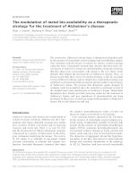 Báo cáo khoa học: The modulation of metal bio-availability as a therapeutic strategy for the treatment of Alzheimer's disease pptx