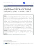Evaluation of a reproductive health awareness program for adolescence in urban Tanzania-A quasi-experimental pre-test post-test research pptx