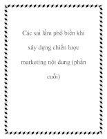 Các sai lầm phổ biến khi xây dựng chiến lược marketing nội dung (phần cuối) pdf