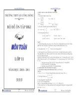 Tổng hợp 22 đề thi học kì I toán lớp 11 trong các năm học