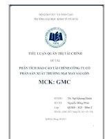 Phân tích báo cáo tài chính công ty cổ phần sản xuất thương mại may Sài Gòn (mã chứng khoán GMC)