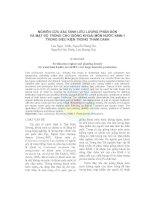 Nghiên cứu xác định liều lượng phân bón và mật độ trồng cho giống khoai môn nước KMN-1 trong điều kiện trồng thâm canh pdf