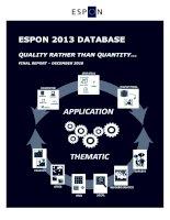 ESPON 2013 DATABASE QUALITY RATHER THAN QUANTITY… potx