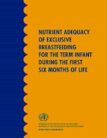 NUTRIENT ADEQUACY OF EXCLUSIVE BREASTFEEDING FOR THE TERM INFANT DURING THE FIRST SIX MONTHS OF LIFE potx