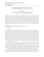 Bank Savings and Bank Credits in Nigeria: Determinants and Impact on Economic Growth doc