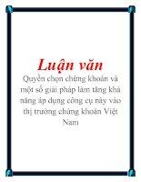 Luận văn: Quyền chọn chứng khoán và một số giải pháp làm tăng khả năng áp dụng công cụ này vào thị trường chứng khoán Việt Nam docx