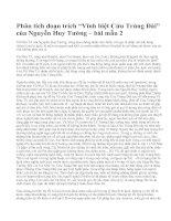 """Phân tích đoạn trích """"Vĩnh biệt Cửu Trùng Đài"""" của Nguyễn Huy Tưởng – bài mẫu 2"""