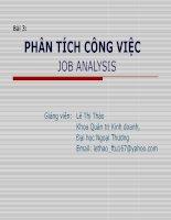 bài giảng quản trị nguồn nhân lực ( lê thị thảo) - chương 3 phân tích công việc