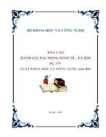 BÁO CÁO ĐÁNH GIÁ TÁC ĐỘNG KINH TẾ - XÃ HỘI - DỰ ÁN LUẬT KHOA HỌC VÀ CÔNG NGHỆ (sửa đổi) pdf