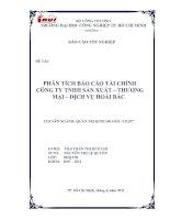 ĐỀ TÀI: PHÂN TÍCH BÁO CÁO TÀI CHÍNH CÔNG TY TNHH SẢN XUẤT – THƯƠNG MẠI – DỊCH VỤ HOÀI BẮC pdf
