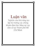 Luận văn: Nghiên cứu khả năng tạo lập thị trường các chứng khoán đảm bảo bằng nợ vay cầm cố tại Thành phố Hồ Chí Minh doc