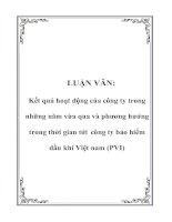 LUẬN VĂN: Kết quả hoạt động của công ty trong những năm vừa qua và phương hướng trong thời gian tới công ty bảo hiểm dầu khí Việt nam (PVI) pot