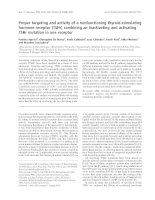 Báo cáo khoa học: Proper targeting and activity of a nonfunctioning thyroid-stimulating hormone receptor (TSHr) combining an inactivating and activating TSHr mutation in one receptor pptx