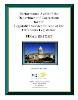 Performance Audit of the Department of Corrections for the Legislative Service Bureau of the Oklahoma Legislature ppt
