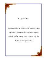 LUẬN VĂN: Tại sao Hồ Chí Minh chủ trương thực hiện cơ cấu kinh tế hàng hóa nhiều thành phần trong thời kỳ quá độ lên CNXH ở Việt Nam? potx