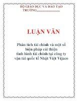 LUẬN VĂN: Phân tích tài chính và một số biện pháp cải thiện tình hình tài chính tại công ty vận tải quốc tế Nhật Việt Vijaco docx