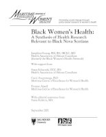 Black Women's Health: A Synthesis of Health Research Relevant to Black Nova Scotians ppt