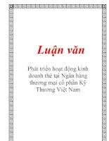 Luận văn: Phát triển hoạt động kinh doanh thẻ tại Ngân hàng thương mại cổ phần Kỹ Thương Việt Nam ppt