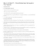 Địa Lí 12 Bài 37 – Vấn đề khai thác thế mạnh ở Tây Nguyên