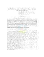 NGHIÊN CỨU KHẢ NĂNG ỨNG DỤNG MỘT SỐ LOÀI CÂY ĐỘC ĐỂ PHÒNG TRỪ CỎ DẠI ppt