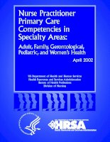 Nurse Practitioner Primary Care Competencies in Specialty Areas: Adult, Family, Gerontological, Pediatric, and Women's Health potx
