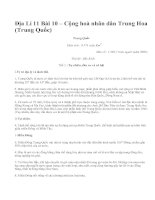 Địa Lí 11 Bài 10 – Cộng hoà nhân dân Trung Hoa (Trung Quốc)