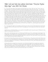 """Một vài mở bài cho phân tích bản """"Tuyên Ngôn Độc lập"""" của Hồ Chí Minh"""