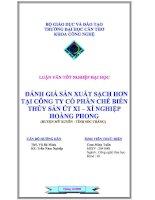 đánh giá sản xuất sạch hơn tại công ty cổ phần chế biến thủy sản út xi – xí nghiệp hoàng phong