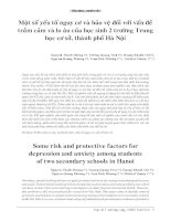 Một số yếu tố nguy cơ và bảo vệ đối với vấn đề trầm cảm và lo âu của học sinh 2 trường Trung học cơ sở, thành phố Hà Nội potx