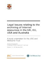 Legal issues relating to the archiving of Internet resources in the UK, EU, USA and Australia pot